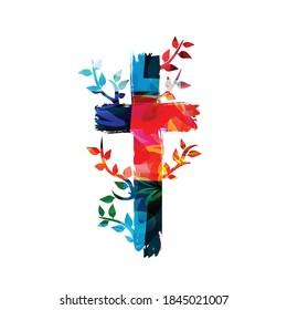 Farbiges christliches Kreuz, einzelne Vektorgrafik. religiöser Hintergrund. Design für Christentum, Gebet und Fürsorge, Kirchengemeinde, Hilfe und Unterstützung