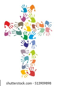 Colorful Christian cross made of hand prints