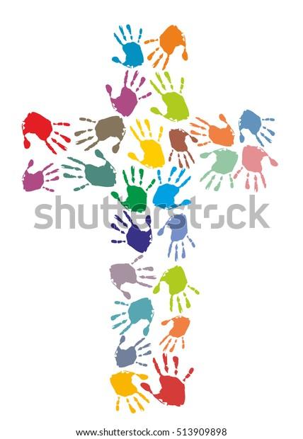 Farbiges christliches Kreuz aus Handdrucken