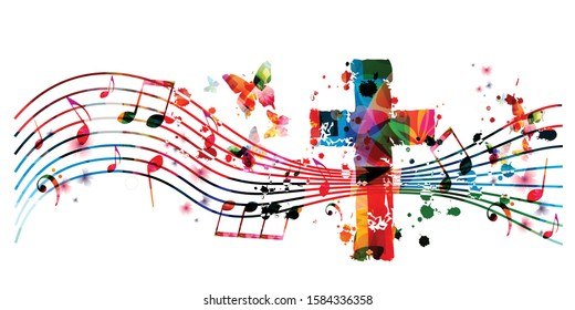 Colorful Christian cross with music notes vector illustration background