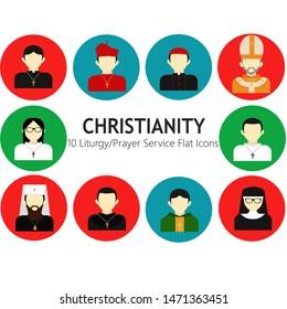Colorful christian prayer or liturgy service flat icons set.