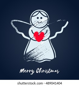 Colorful christmas angel with heart icon. Hand drawn paint brush vector illustration. Good for christmas new year design