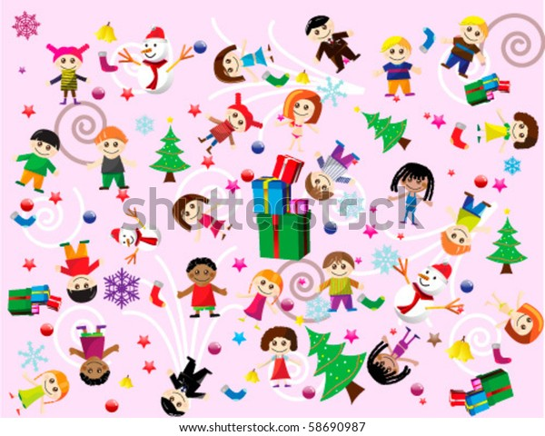 Colorful Christmas Background For Kids.Colorful Christmas Background Full Cheerful Kids Stock