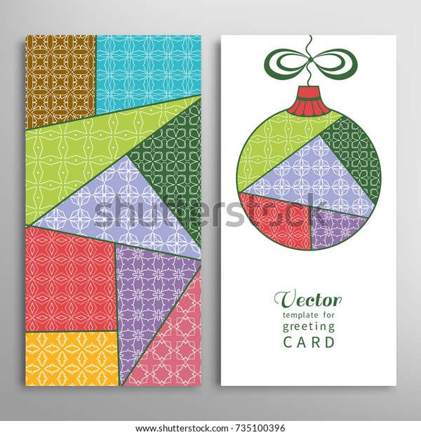 Colorful Christmas Ball Colorful Patchwork Quilt Stock Vector Royalty Free 735100396