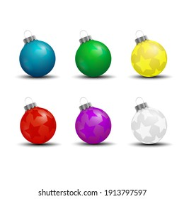 colorful christmas balls decorations vector