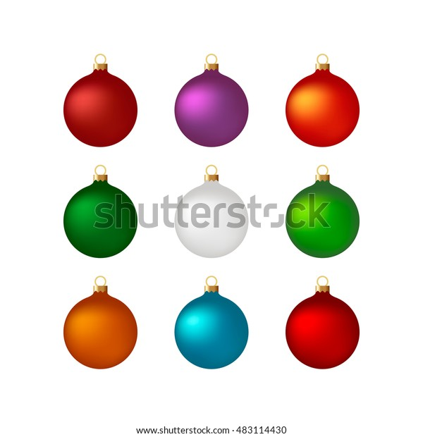 Colorful Christmas Balls.Colorful Christmas Balls Set Set Isolated Stock Vector