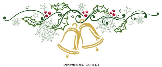 Colorful Christmas decoration, christmas bells and holly
