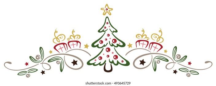 Colorful Christmas decoration, christmas tree with mistletoe.