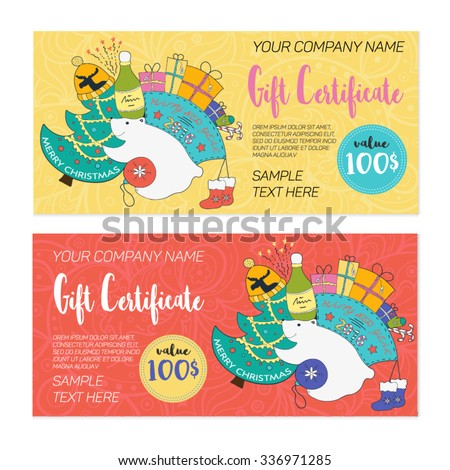 Colorful Christmas Gift Certificate Templates Doodle Stock Vector