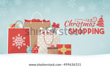 Colorful christmas gifts shopping bags decorations stock vector