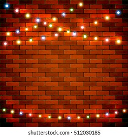 Colorful Christmas light on brick wall background, holiday decorations, illustration.