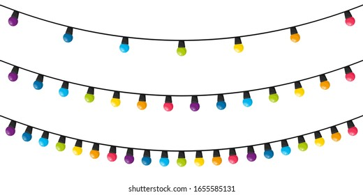 Colorful christmas lights bulbs isolated on white background. Color garlands. Lights bulbs in simple trendy flat design. Vector illustration