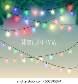 Colorful Christmas Lights greeting card. Vector illustration