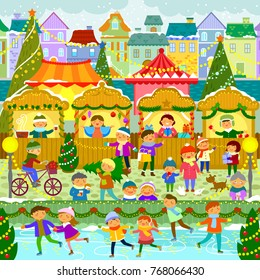 Colorful Christmas market in a European town