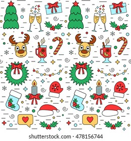Colorful Christmas and New Year holiday seamless pattern with traditional attributes in line style. Vector illustration