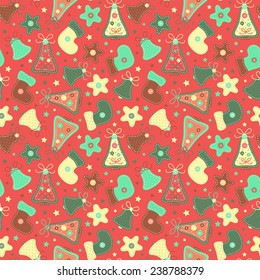 Colorful Christmas and New Year pattern.