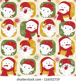 Colorful Christmas pattern seamless with  Christmas character