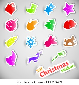 Colorful christmas stickers set vector illustration