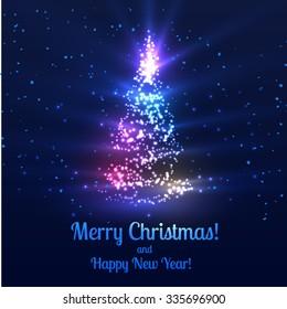 Colorful christmas tree vector background. Vector eps10. Bokeh, defocused lights.
