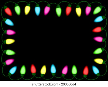 Colorful christmas/party lights border - vector