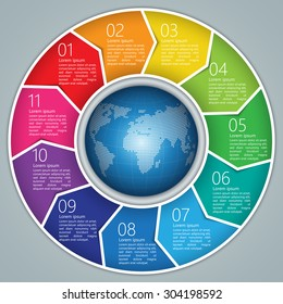 Colorful Circle Arrows With World Globe,Number and Information Text Design. 11 Options, Financial and Business Infographic, Life Cycle Diagram,Workflow/Element Layout Design. Vector Illustration