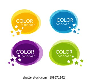 Colorful circle banners with star elemnts in overlay style. Vector frame collection.