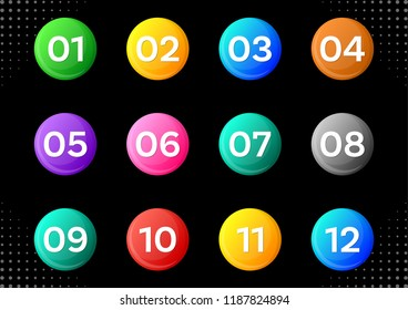 Colorful circle buttons with white calendar month numbers