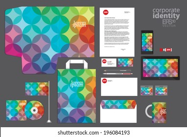 Colorful circle corporate identity template design. Vintage retro company style. Vector illustration.