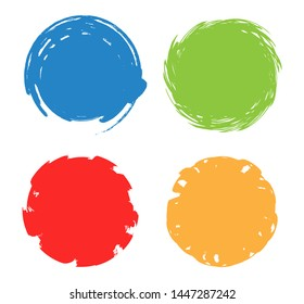 Colorful circle frames. Grunge round shapes.
