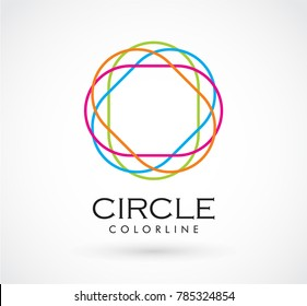 Colorful circle of line art abstract vector and logo design or template sphere icon of rainbow symbol concept