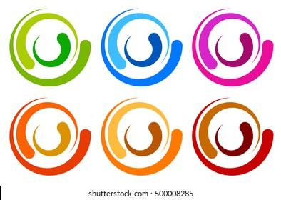 Colorful circle logo, icon templates. concentric segmented circles