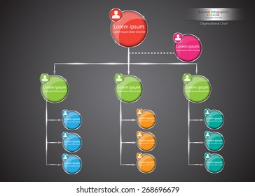 Colorful Circle Organization Chart Infographics, Abstract Black Background, Business Structure Concept, Business Flowchart Work Process, Vector Illustration.