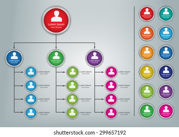 Colorful Circle Organization Chart Infographics with People Icons, Business Structure Concept, Business Flowchart Work Process, Vector Illustration.