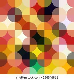 Colorful circle square geometric seamless pattern.