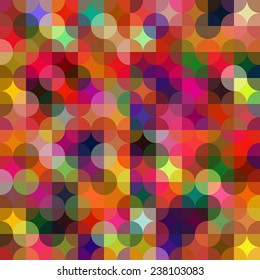 Colorful circle square geometric shapes seamless pattern. Multicolor abstract background.