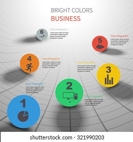 colorful circles data in 3D curved background technology concept