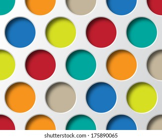 Colorful circles geometry. Retro Abstract background. Vector design. Easy color change.