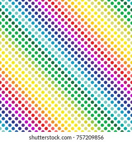 colorful circles in lines. seamless pattern and rainbow color concept. vector illustration.