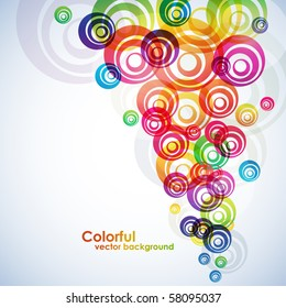 Colorful circles vector background.