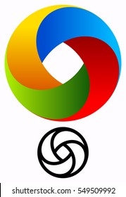 Colorful circular logo for technology concepts with contour version. Spiral, swirl logo.