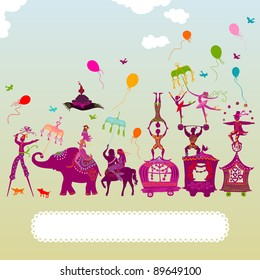 colorful circus caravan with magician, elephant, dancer, acrobat, mermaid and other fun characters