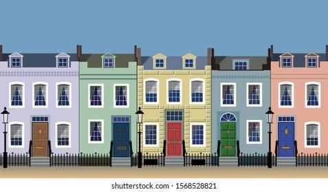 Colorful city house facades on a sunny street.