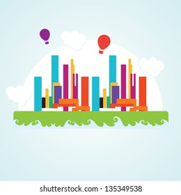 Colorful City icons ( concepts and elements) Vector illustration
