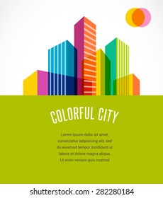 Colorful city,  real estate and skyline background