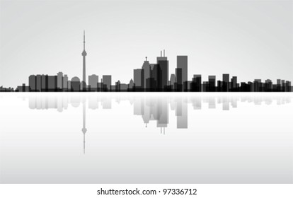 Colorful City Toronto panorama, vector