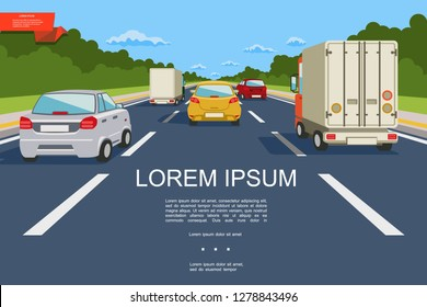 Colorful city transport template with cars and trucks moving on road in flat style vector illustration