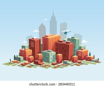 Colorful city. Vector illustration.