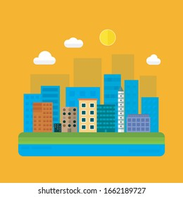 Colorful city vector illustration. Flat style - city landscape with buildings, abstract background for header images for websites, banners, covers.