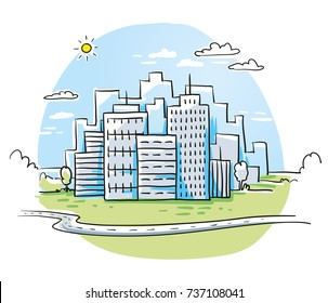 Colorful city view with office buildings skyline, cloudy sky and winding road.Hand drawn cartoon sketch vector illustration, marker style coloring.