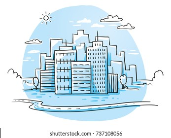 Colorful city view with office buildings skyline, cloudy sky and winding road. Hand drawn cartoon sketch vector illustration, blue marker style coloring.